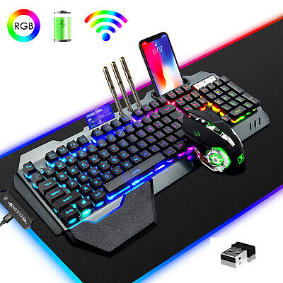 AU115.99 • Buy NEW 3in1 Rainbow Gaming Keyboard And Mouse Sets Wireless LED Backlit For PC 680