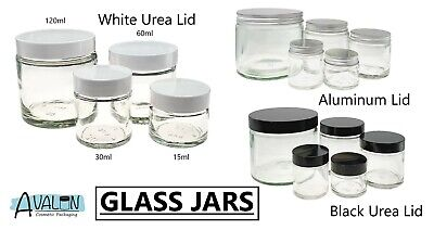 Clear Cosmetic Glass Jars Choice Of Sizes And Lids Ointments Candles Balm Scrubs • 7.59£