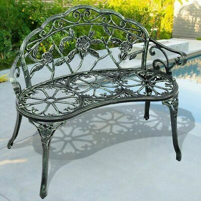 $164.99 • Buy Garden Metal Rose Patio Outdoor Bench Seat Yard Chair Black Backyard Antique