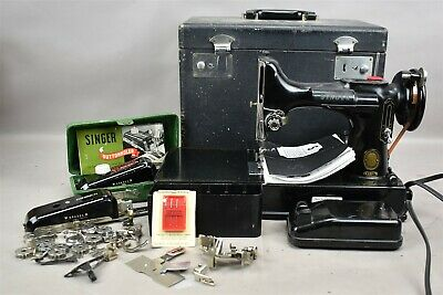 $399.99 • Buy Vtg SINGER Portable Electric Sewing Machine 221-1 Featherweight W Accessories