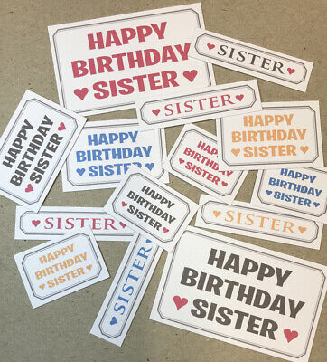 14 HAPPY BIRTHDAY SISTER Mixed Printed Sentiments 3-6cm Hand Made Card Toppers • 0.99£