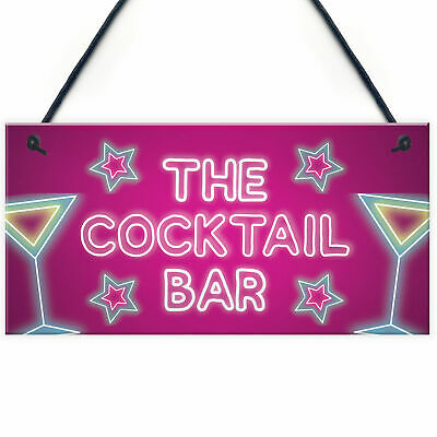 £3.99 • Buy The Cocktail Bar Novelty Bar Signs And Plaques Home Bar Sign Novelty Gifts