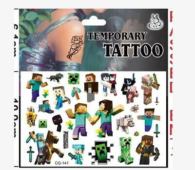 New Tnt Pixel Miner Temporary Tattoo Sheet Childrens Birthday Party Bag Filler • 2.98£