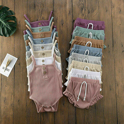 AU19.87 • Buy Newborn Infant Baby Girl Solid Sleeveless Romper Tops Shorts Pants Set Clothes
