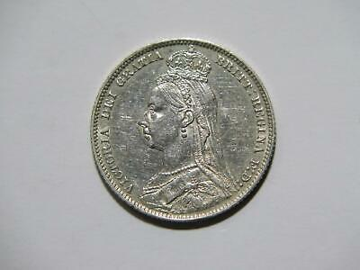 $4 • Buy Great Britain 1890 Shilling Queen Victoria Toned Low Grade Silver World Coin ⭐🌈