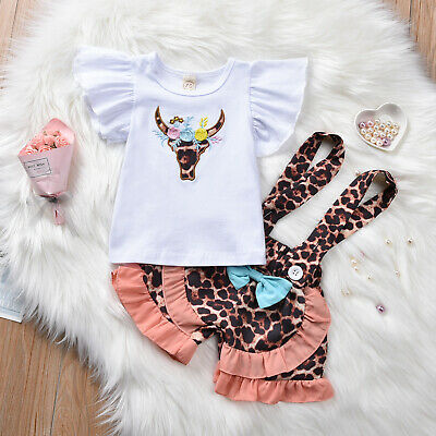 $12.99 • Buy NEW Cow Ruffle Shirt Suspender Shorts Girls Outfit Set 12M 18M 2T 3T
