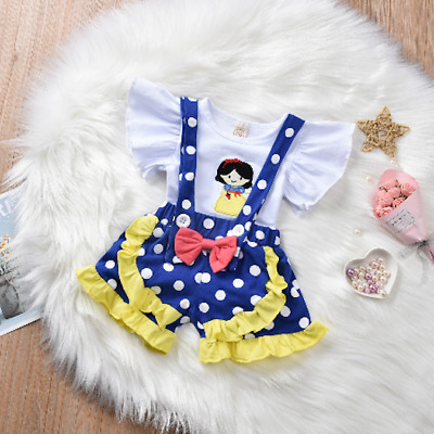 $12.99 • Buy NEW Snow White Ruffle Shirt Suspender Shorts Girls Outfit Set 12M 18M 2T 3T