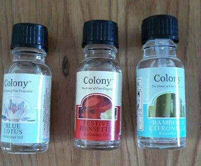 3 X COLONY REFRESHER OILS INCLUDING CHRISTMAS FRAGRANCE LARGE SIZE 15ML BOTTLES  • 7.99£