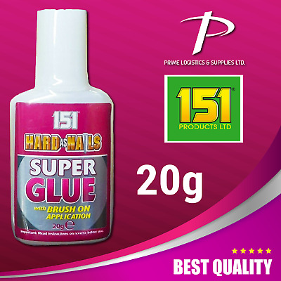 151 Hard As Nails Super Glue 20g With Brush On Precision Application Superglue • 2.89£
