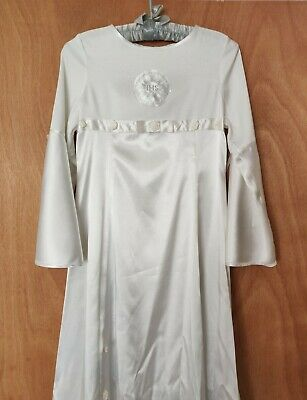 Gorgeous Holy Communion Pure Dress White Satin Silk Flower Bell Sleeve With Bag • 14£