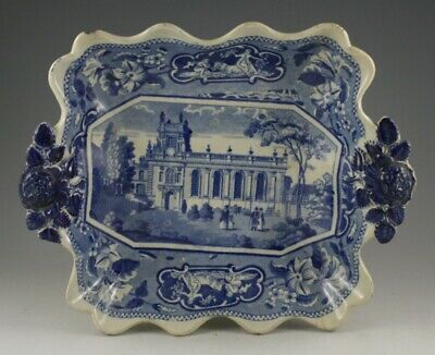 Antique Pottery Pearlware Blue Transfer Ridgway College Dessert Dish 1825 Oxford • 9.99£