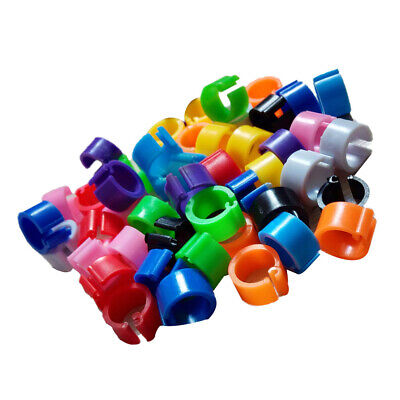 100pcs Mixed Colour Bird Rings Leg Band Finch Poultry Chicks Clip Bands • 3.52£