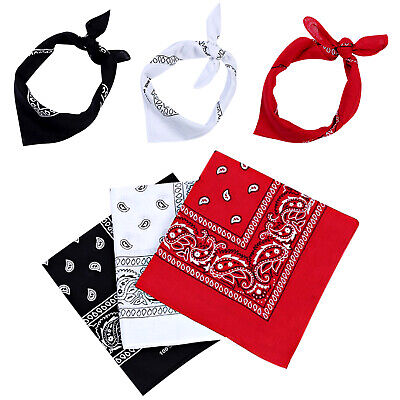 AU11.78 • Buy 3Pcs BANDANA Paisley & Plain 100% COTTON Head Wrap Head Wrap Summer Scarf Snood