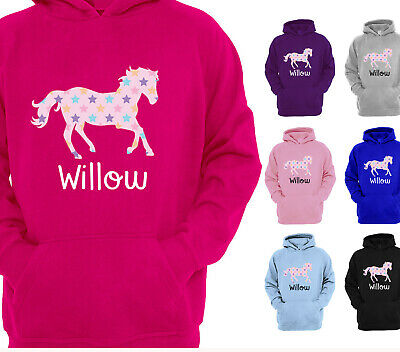 Girls Personalised Horse Riding Hoodie Star Print Childrens Fun Pony Kids Hoody • 15.75£