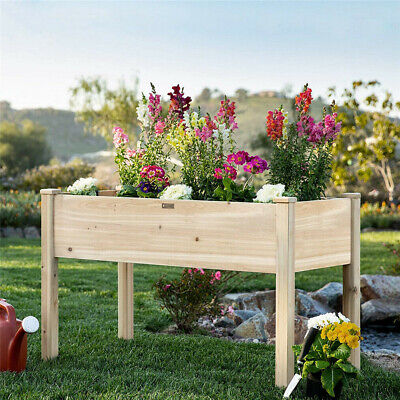 Large Raised Garden Bed Elevated Wood Planter Box Flower Vegetable Stand Outdoor • 69.99£