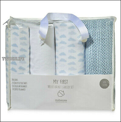 Mothercare Baby Boy Moses Basket Blue Bedding Gift Set Fitted Sheets & Blankets  • 22.99£