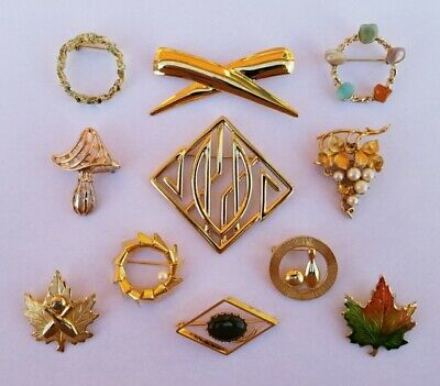 $ CDN8 • Buy Lot Of Vintage Costume Jewelry Brooches B