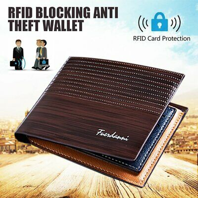 AU7.99 • Buy Men's Purse PU Leather RFID Blocking Credit Card Holder Wallet Anti Theft