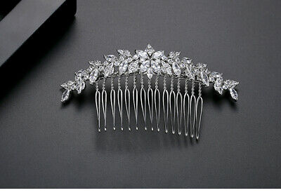 Comb To Hair Art Deco Cz Floral Leaf Wheat Plate Gold White Marriage G10 • 33.75£