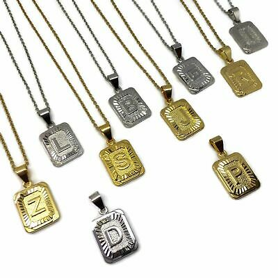£7.99 • Buy Square Stainless Steel Initial Necklace L FREE UK SHIPPING L Letter Gold Silver