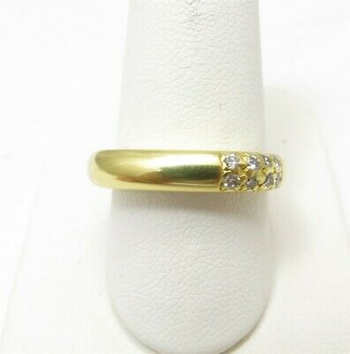 $295 • Buy M Stowe 18k Yellow Gold ~1/6ctw Round Diamond Squared ~4mm Band Ring Size 8.5