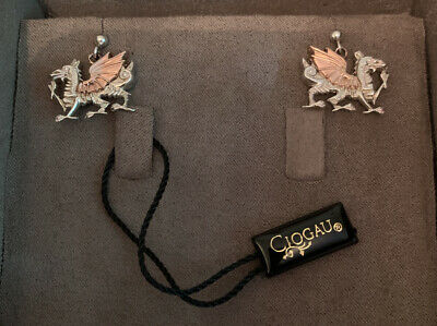 Clogau Gold Silver & Rose Gold Dragon Earrings. New In Box. • 99.99£