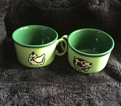 "Two ""Just Mugs"" Made In England Pig & Chicken Beautiful 2 Tone Green Large Mugs! • 15.99£"