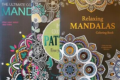 $9.99 • Buy Mandalas Patterns Adult Coloring Book   Lot Of 3   Relaxing Free Your Mind   New