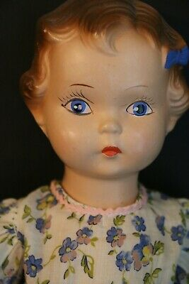 $48.75 • Buy 1930's Composition Doll, 12 IN, Vintage Composition Doll With Molded Blue Bow