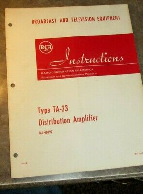 $12.99 • Buy RCA TA-23 Distribution Amplifier Broadcast TV Television Instruction Manual