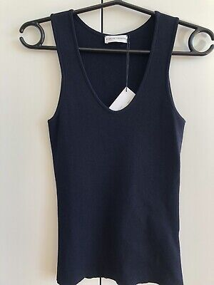 AU88.50 • Buy Scanlan Theodore Navy Crepe Knit Singlet Size M - New With Tag