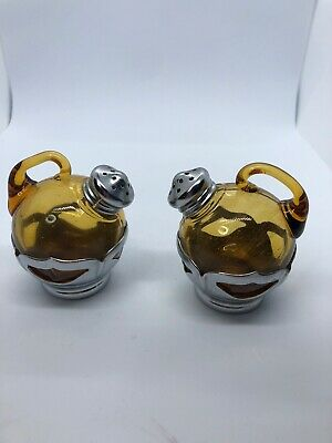 $12.99 • Buy Vintage Farber Bros Krome Kraft Tilt Salt & Pepper Shaker Set Gold Amber