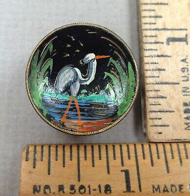 $19.99 • Buy CRANE / STORK In LAKE Antique Tole BUTTON, Colorful Hand-Painted Scene On Brass
