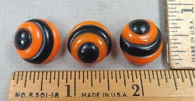 $19.99 • Buy Lot Of 3 Orange & Black Antique Glass BUTTONS, Painted, Embossed Designs