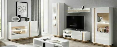 Living Room Furniture Set Tv Unit Display Stand Wall Mounted Cabinet White Gloss • 480£