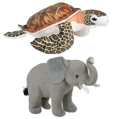 Large Soft Toy Animal Wild Republic Plush African Elephant Hawksbill Turtle 24  • 12£