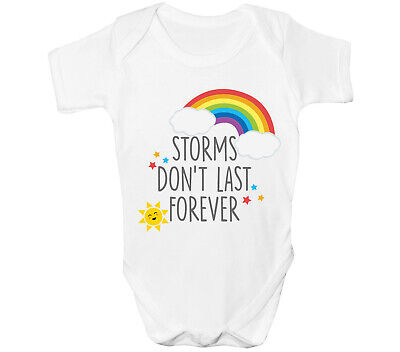 Rainbow Baby Grow Storms Dont Last Forever Girls Boys Vest Lockdown NHS Top • 7.55£