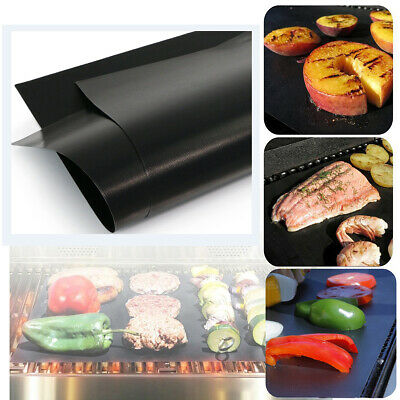 AU12.86 • Buy BBQ Grill Mat Teflon Reusable Sheet Resistant Non-Stick Barbecue Bake Meat