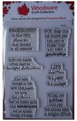 Woodware Clear Acrylic Stamp Set SOOTHING SENTIMENTS Friendship Memories • 6.25£