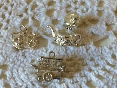 £9.75 • Buy Vintage Silver Charms X 3 Teapot, Comedy / Tragedy Mask & Carriage