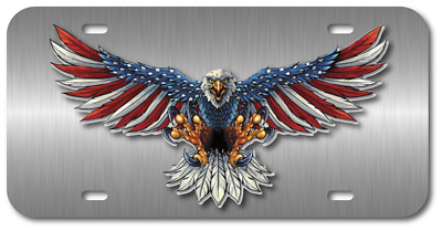 $16.99 • Buy American Flag Eagle Vehicle Plastic License Plate Front Auto Usa Made Car Truck