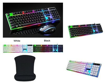 AU47.31 • Buy Mechanical Feel Keyboard Rainbow Backlight USB Wired Gaming Keyboard Mouse Set