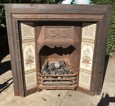 Victorian Style Cast Iron Fireplace Insert With Tiles • 100£
