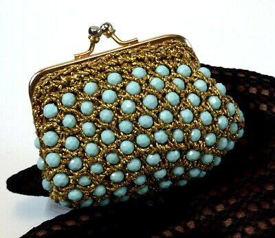 $13.50 • Buy Delill CLUTCH COIN PURSE Lined Beaded Crochet GOLD Aqua-Turquoise MADE IN ITALY
