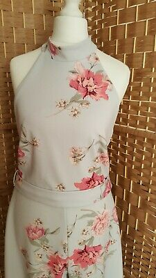 ❤NEW LOOK FLORAL HALTER NECK SLEEVELESS WIDE LEG JUMPSUIT Size 12 STRETCH SILVER • 12£