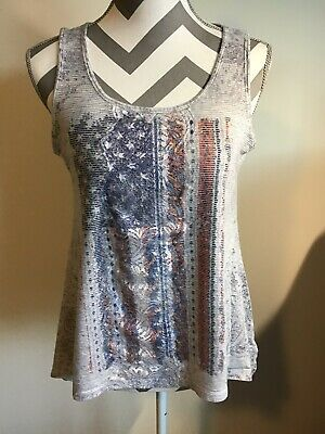 $6.50 • Buy Womens Tops By ONE WORLD Live And Let Live Size S Sleeveless American Flag