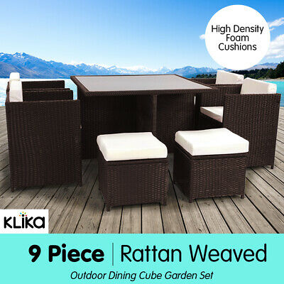 AU509 • Buy New 9 Piece Rattan Wicker Outdoor Dining Table Chair Outdoor Furniture Set - BW