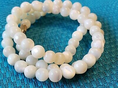 $15 • Buy Vtg Carved Moonstone/mother Of Pearl White Beaded Art Deco 16  Necklace