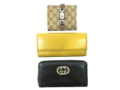 $52 • Buy Authentic 3 Item Set GUCCI Long Wallet GG Canvas Leather Wallet 84779