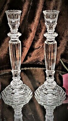 BEAUTIFUL Paneled Crystal Glass Candlesticks Candle Holders RINGS STEP CUT BASE! • 84.12£